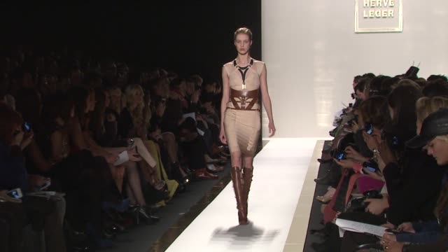 models walk the runway wearing herve leger by max azria fall 2012 collection during mercedes-benz fashion week fall 2012 on in new york, ny. - fashion collection stock videos & royalty-free footage