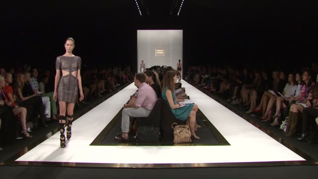 models walk the runway wearing herve leger by max azria spring 2012 during mercedesbenz fashion week spring 2012 at the herve leger by max azria... - bcbg max azria stock videos & royalty-free footage