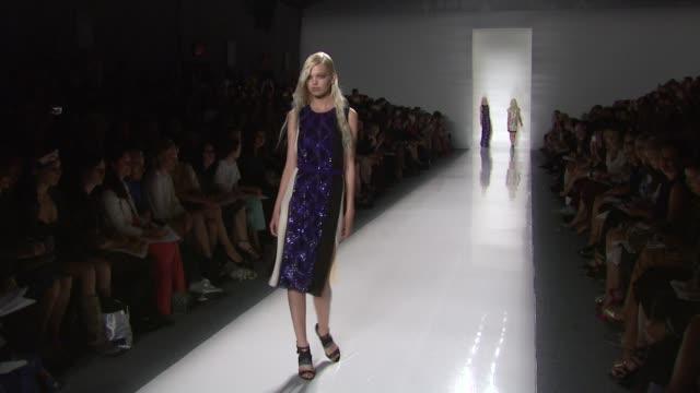 models walk the runway wearing j. mendel spring 2012 during mercedes-benz fashion week spring 2012 at the j. mendel - spring 2012 mercedes-benz... - 2012 stock videos & royalty-free footage