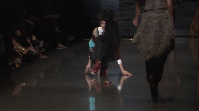models walk the runway wearing l.a.m.b. fall 2011 collection during mercedes-benz fashion week fall 2011 at the l.a.m.b - fall 2011 mbfw at new york... - laufsteg stock-videos und b-roll-filmmaterial
