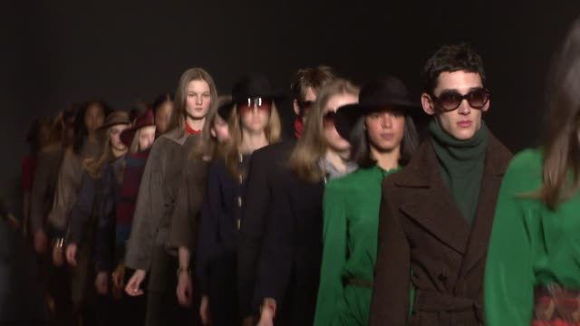models walk the runway wearing marc jacobs fall 2011 collection during mercedesbenz fashion week fall 2011 - marc jacobs designer label stock videos and b-roll footage