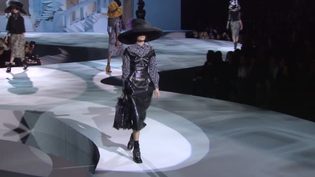 models walk the runway wearing marc jacobs fall 2012 collection during mercedes-benz fashion week fall 2012 on 2/13/12 in new york, ny. - fashion collection stock videos & royalty-free footage