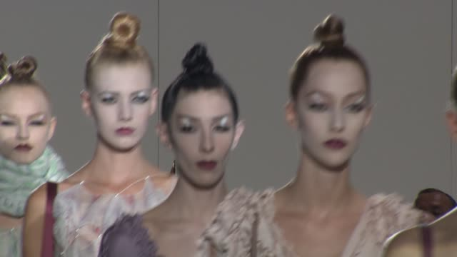 models walk the runway wearing marc jacobs spring 2010 collection at the mercedesbenz fashion week spring 2010 marc jacobs at new york ny - marc jacobs designer label stock videos and b-roll footage