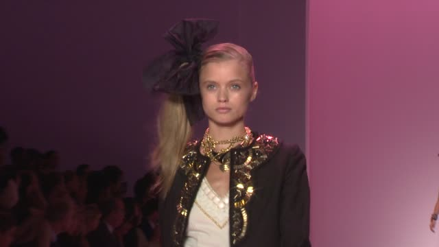 models walk the runway wearing milly by michelle smith spring 2010 collection at the mercedes-benz fashion week spring 2010 - milly by michelle smith... - fashion collection stock videos & royalty-free footage