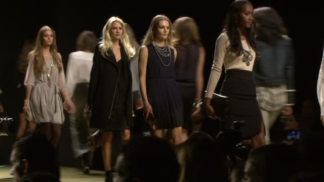 models walk the runway wearing mng by mango collection at the launch of mng by mango at jcpenney at new york ny - mango stock videos & royalty-free footage