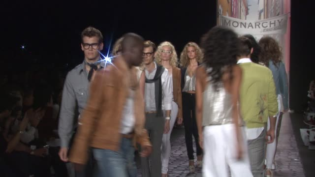 models walk the runway wearing monarchy spring 2010 collection during mercedes-benz fashion week spring 2010 at the mercedes-benz fashion week spring... - fashion collection stock videos & royalty-free footage