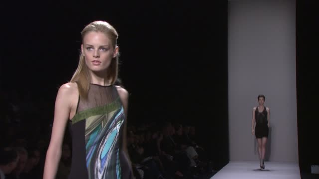 models walk the runway wearing nicole miller spring 2010 collection during mercedes-benz fashion week spring 2010 at the mercedes-benz fashion week... - fashion collection stock videos & royalty-free footage