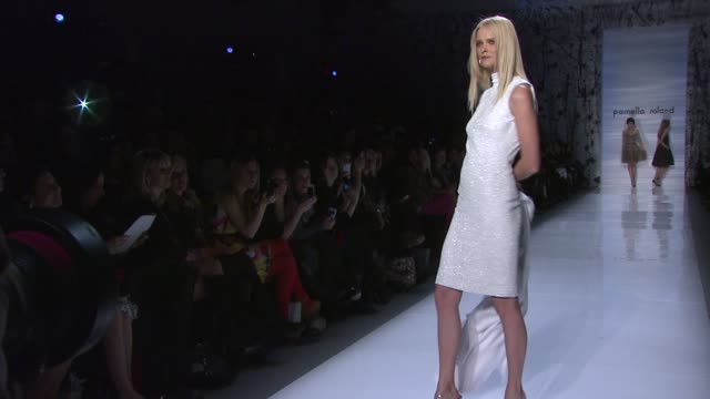 models walk the runway wearing pamella roland fall 2012 collection during mercedes-benz fashion week fall 2012 on 2/14/12 in new york, ny. - fashion collection stock videos & royalty-free footage