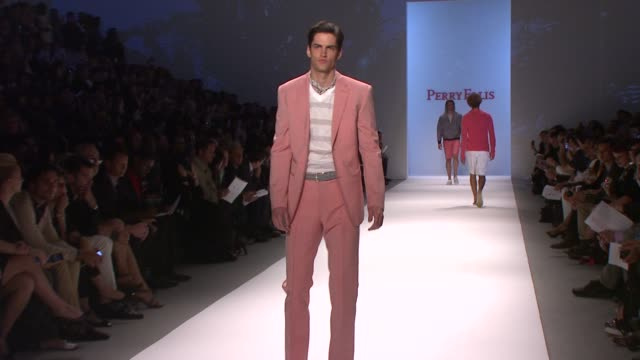 models walk the runway wearing perry ellis spring 2011 collection during mercedes-benz fashion week spring 2011. at the perry ellis - spring 2011... - fashion collection stock videos & royalty-free footage