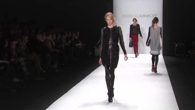models walk the runway wearing rebecca minkoff fall 2012 collection during mercedes-benz fashion week fall 2012 on in new york, ny. - fashion collection stock videos & royalty-free footage