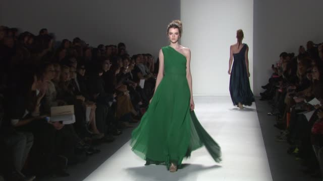 models walk the runway wearing son jung wan fall 2012 collection during mercedes-benz fashion week fall 2012 on in new york, ny. - fashion collection stock videos & royalty-free footage