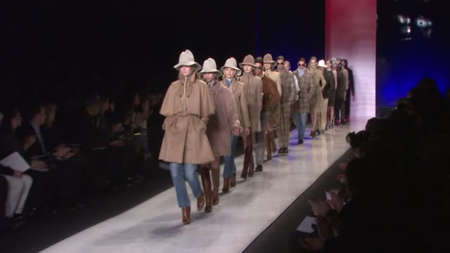 models walk the runway wearing tommy hilfiger fall 2009 at the tent bryant park at the mercedesbenz fashion week fall 2009 tommy hilfiger runway at... - tommy hilfiger designer label stock videos and b-roll footage