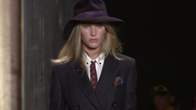 models walk the runway wearing tommy hilfiger fall 2011 collection during mercedesbenz fashion week fall 2011 at the tommy hilfiger fall 2011 mbfw at... - tommy hilfiger designer label stock videos and b-roll footage