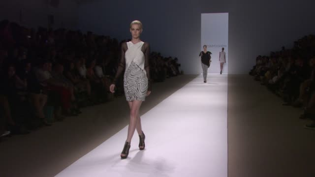 models walk the runway wearing tonycohen spring 2010 collection during mercedes-benz fashion week spring 2010 at the mercedes-benz fashion week... - fashion collection stock videos & royalty-free footage