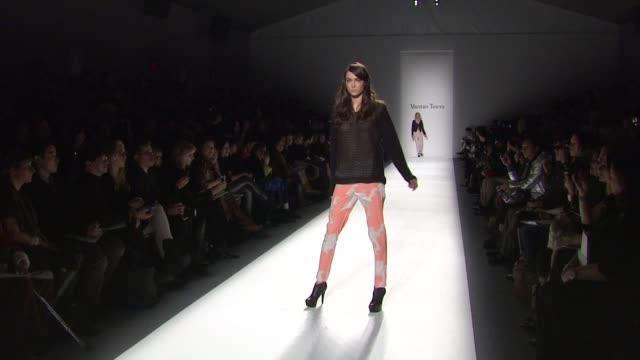 models walk the runway wearing vantan tokyo fall 2012 collection during mercedes-benz fashion week fall 2012 on in new york, ny. - fashion collection stock videos & royalty-free footage