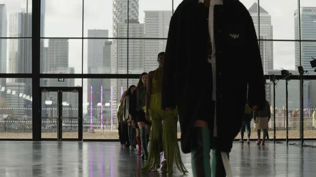 models walks the finale on the runway during the mark fast show during london fashion week february 2021 at magazine ordnance crescent on february... - catwalk stock videos & royalty-free footage
