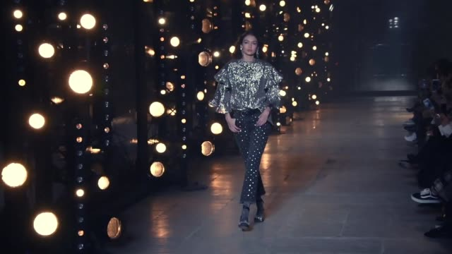 models walks the runway during the isabel marant ready to wear fashion show as part of the paris fashion week womenswear fall/winter 2017/2018 on... - paris fashion week stock videos & royalty-free footage