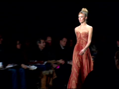 models wearing bill blass fall 2007 at the mercedes benz fashion week fall 2007 bill blass runway at the tent at bryant park in new york, new york on... - mercedes benz fashion week stock videos & royalty-free footage