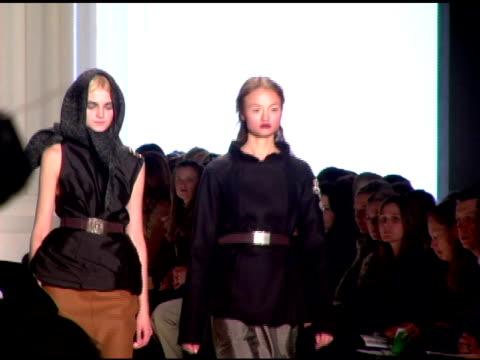 Models wearing Vera Wang Fall 2007 at the MercedesBenz Fashion Week Fall 2007 Vera Wang Runway at the Tent at Bryant Park in New York New York on...