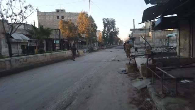 moderate opposition groups on february 27 2020 take control of saraqib a strategic district in syria's restive idlib province from the assad regime... - syria stock videos & royalty-free footage