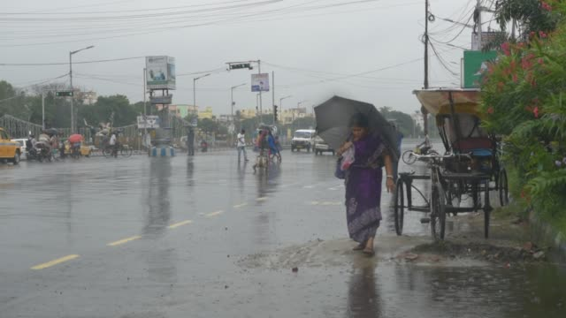 vídeos de stock e filmes b-roll de moderate rainfall affects daily life in kolkata, india, 12 september, 2019. india's monsoon rain receives 38 percent above average this week as the... - 12 15 meses