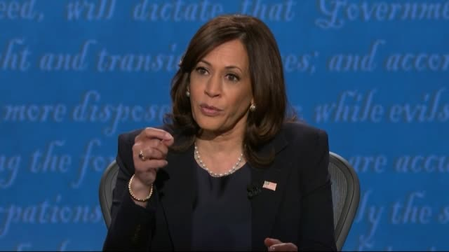 vidéos et rushes de moderator susan page asks california senator kamala harris in televised debate with vice president mike pence what exactly would be the stance of a... - salt lake city