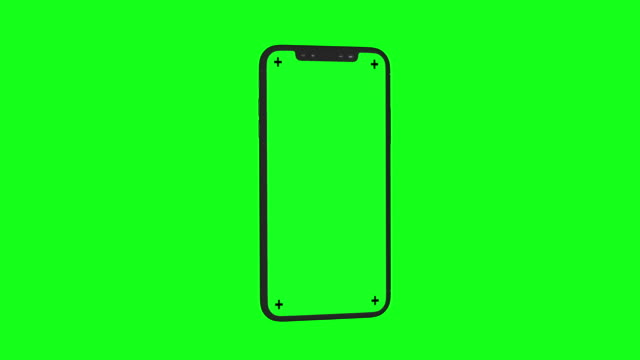 Modern 3D Smartphone rotates on Chroma Key Green BG