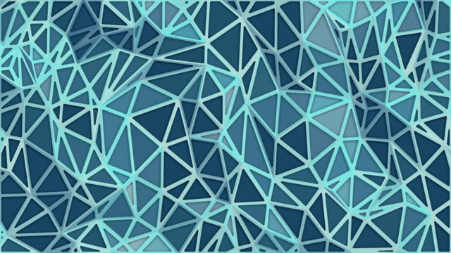 modern abstract surface with blue triangular motion pattern. light triangular crystalline mosaic background. digital seamless loop animation. 3d rendering. 4k, ultra hd resolution - mosaic stock videos & royalty-free footage