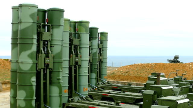 modern anti-aircraft missile system of large and medium range on the coast - anti aircraft stock videos & royalty-free footage