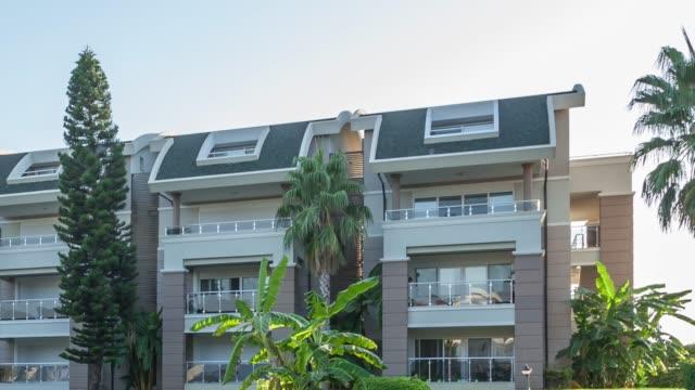modern apartment building - appartamento video stock e b–roll