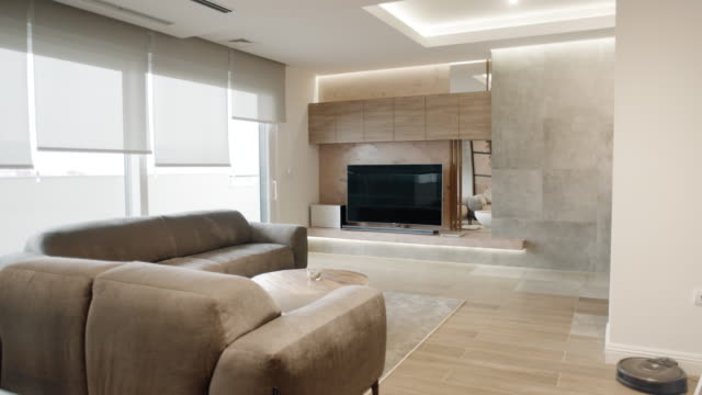 modern apartment living room - loft apartment stock videos & royalty-free footage