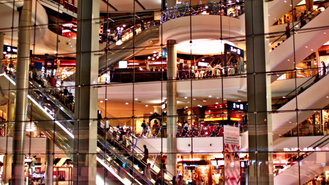 modern asian shopping mall - shopping centre stock videos & royalty-free footage