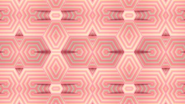 ストライプの幾何学的な動きパターンを持つ現代の背景。抽象的な万華鏡vjモーション映像。デジタルシームレスなループアニメーション。3d レンダリング。4k、uhd - アールデコ点の映像素材/bロール
