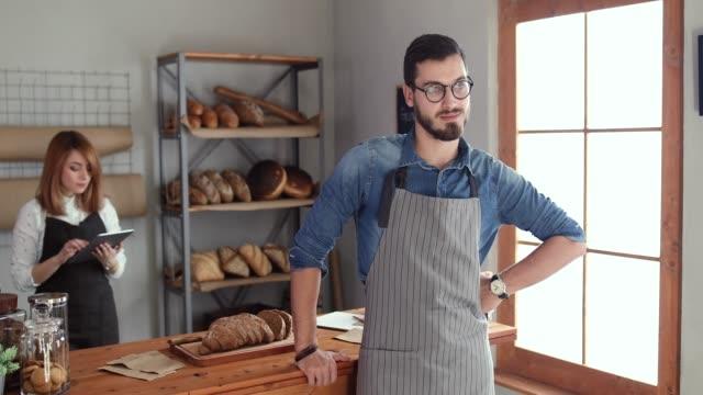 vídeos y material grabado en eventos de stock de negocio de la panadería moderna - repostería