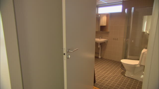 ms modern bathroom of brand new wooden apartment / vaxjo, sweden - vaxjo stock videos & royalty-free footage