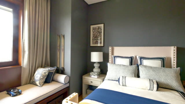 modern bedroom interior 4k - house painting stock videos and b-roll footage