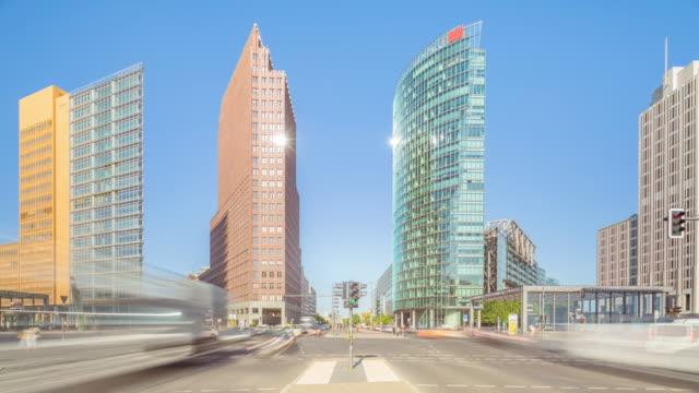 Modern Berlin Potsdamer Platz City Skyline in Summer with Traffic and Sunlight
