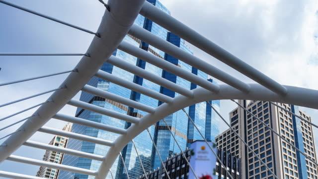 moderne brücke mit tall buildings; zeitraffer - kamerafahrt auf schienen stock-videos und b-roll-filmmaterial