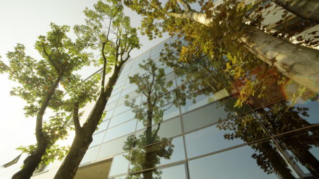 vidéos et rushes de bâtiment moderne, entouré d'arbres - transparent