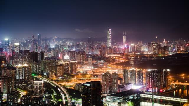 vídeos y material grabado en eventos de stock de exterior de edificios modernos en shenzhen, lapso de tiempo - avenida