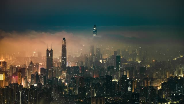 Modern buildings exterior in shenzhen,Time lapse