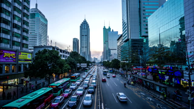 modern buildings exterior in shenzhen,Time lapse.