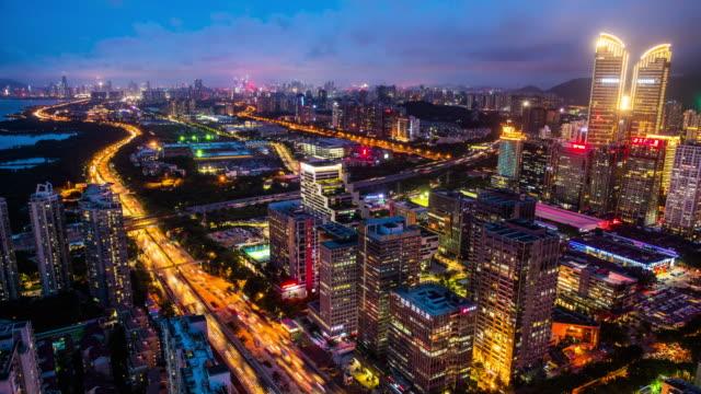 Moderne Gebäude außen in Shenzhen, Zeitraffer