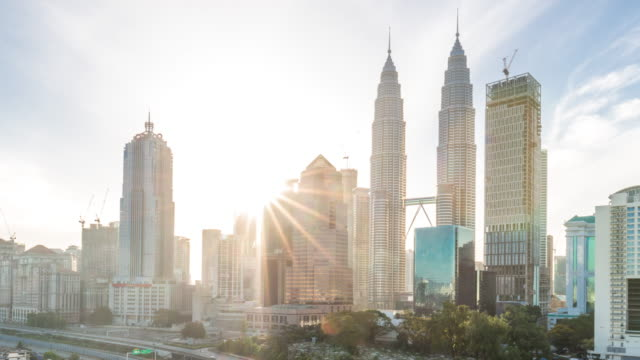 modern buildings in kuala lumpur at sunrise. time lapse