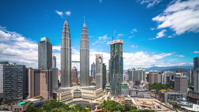 modern buildings in kuala lumpur. time lapse - skyline stock videos & royalty-free footage