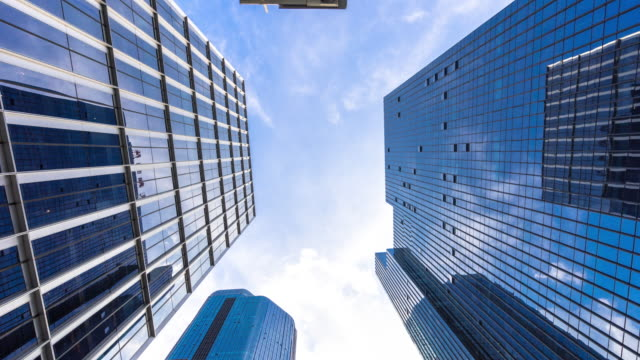 modern buildings in midtown of modern city time lapse