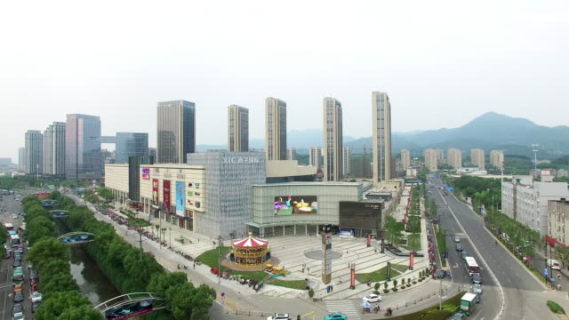 modern buildings  in midtown of modern city - hangzhou stock videos & royalty-free footage
