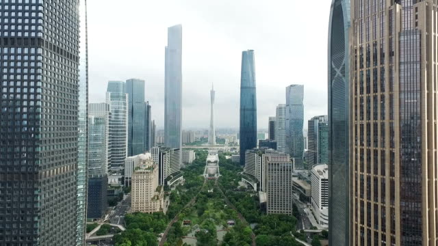 modern buildings in midtown of modern city - guangzhou stock videos & royalty-free footage