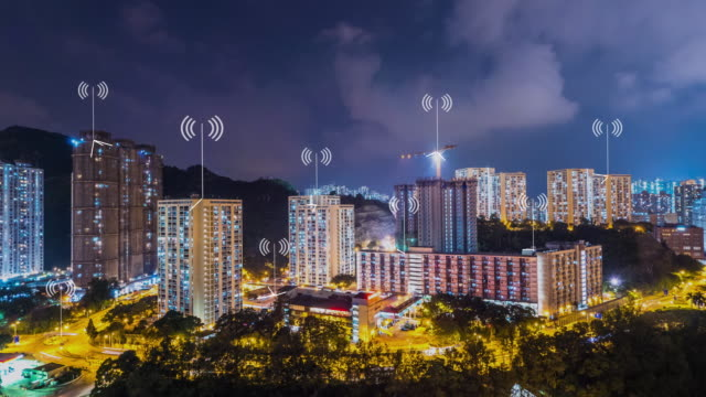 modern buildings in smart city at twilight. timelapse