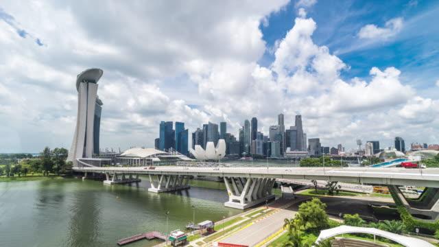 moderne Gebäude in der Nähe von Bay in Singapur. Zeitraffer